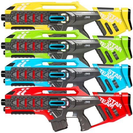 Best Choice Products Set of 4 Interactive Infrared Rifle Laser Tag Toy Blasters for Kids and Adults w/ Extra Lives, Life Tracker, Backwards Compatible, Multicolor