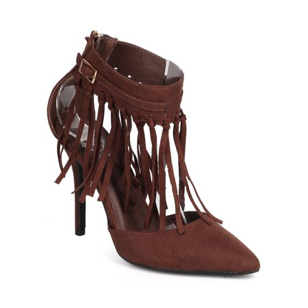 Wild Rose DC02 Women Suede Pointy Toe Fringe Cuff Stiletto Pump](50s Shoes)