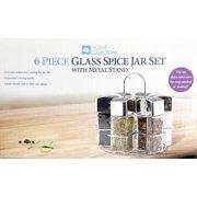 6 Piece Glass Spice Jar Set with Metal Stand