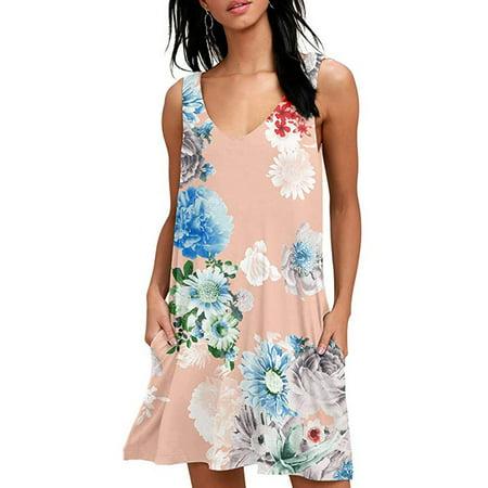 UKAP Sleeveless Tank Dress for Women Casual Loose Pocket Shirt Dress Ladies Summer Beach Party Holiday Dress