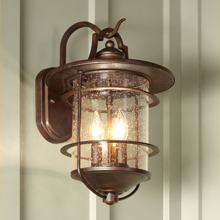 "Franklin Iron Works Industrial Rustic Outdoor Light Fixture Bronze 16 1/4"" Clear Seedy Glass Lantern for Exterior House Porch"