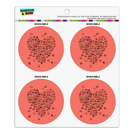 Red Heart Lady Bugs Love Valentine Refrigerator Fridge Locker Vinyl Circle Magnet Set Heart Fridge Magnet