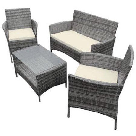 Aleko Caprera Set Rattan Wicker Furniture 4 Piece Indoor Outdoor Coffee Table Set Gray