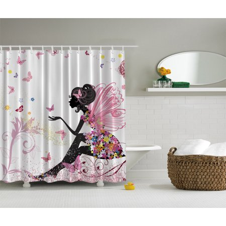 Pink Butterfly Girl Floral Dress Flower Design Fairy Angel Wings Shower Curtain