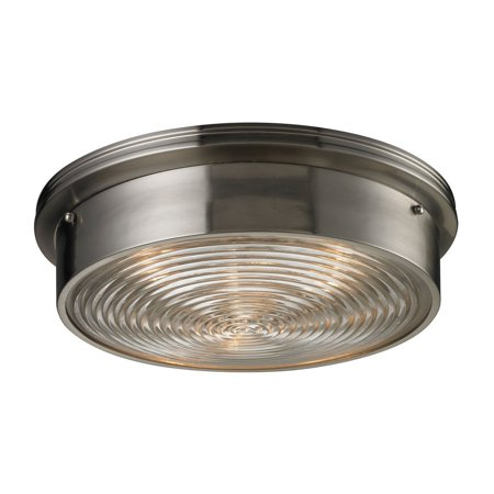 New Product ELK Lighting The Flushmounts 3 Light Flushmount In Brushed Nickel And Clear Ribbed Glass 11463/3 Sold By VaasuHomes
