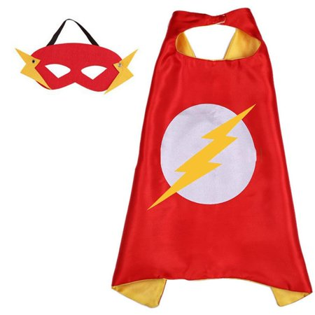 DC Comics Costume - The Flash Logo Cape and Mask with Gift Box by Superheroes - Flash Halloween