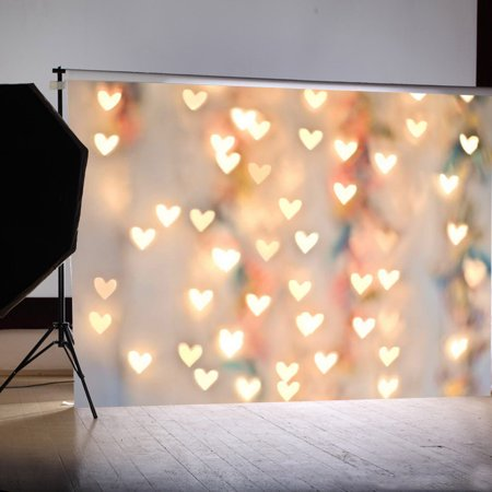 7x5FT Heart Love Lighting Photography Vinyl Fabric Backdrop Photo Studio Props Background - Photo Stand In Props