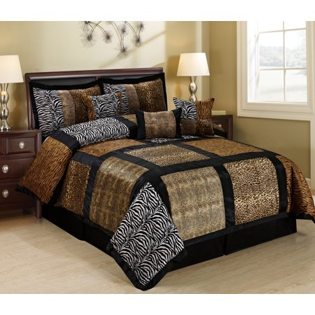 Mallen Home 7 Piece Fuax Fur Safari Patchwork Comforter Set- KING ( multi color)
