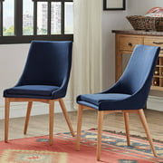Chelsea Lane Mid-Century Modern Linen and Oak Dining Chairs, Set of 2
