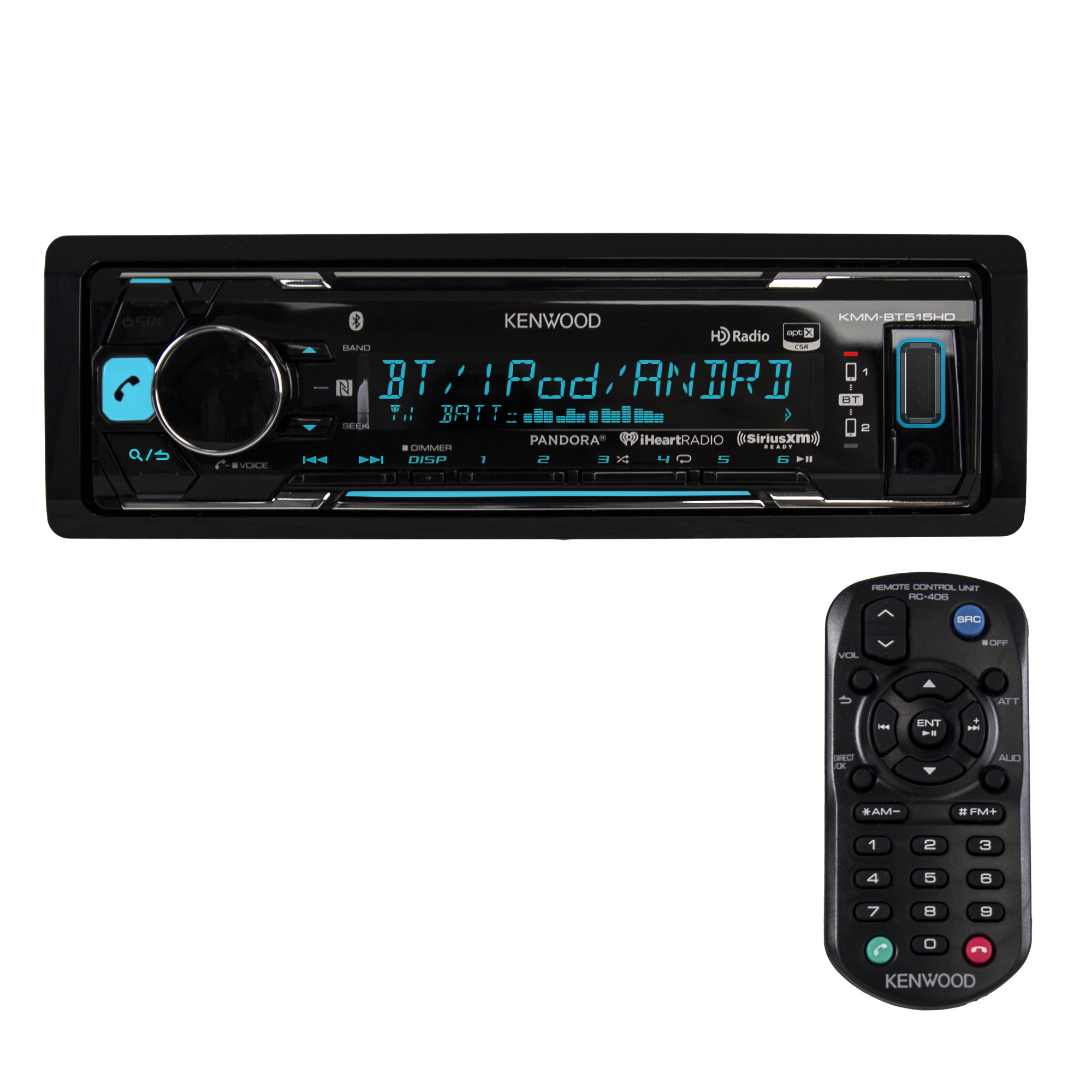 Kenwood KMM-BT515HD Single-DIN In-Dash Mechless Receiver with Bluetooth, HD Radio and SiriusXM Ready by Kenwood