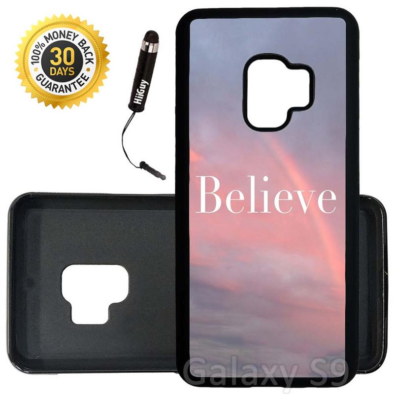 Custom Galaxy S9 Case (Believe Beautiful Sunset Rainbow) Edge-to-Edge Rubber Black Cover Ultra Slim | Lightweight | Includes Stylus Pen by Innosub