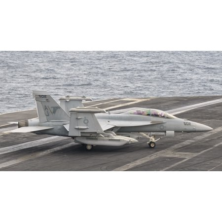 Persian Gulf October 30 2011   An Ea 18G Growler Moves To Parking Aboard Uss George Hw Bush Poster Print