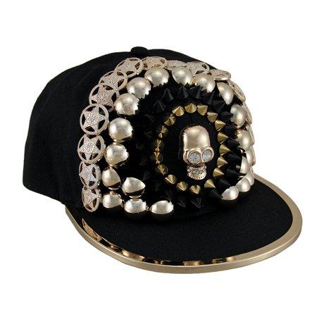 Copper Finish Skull & Urban Bling Black Snapback Hat w/Metal Trimmed