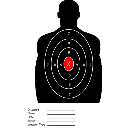 Black Silhouette Red Center Target - Police Military Style Training Targets