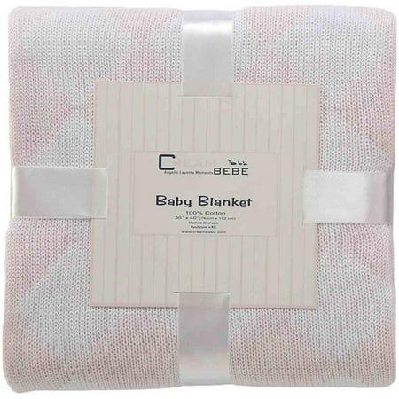Cream Bebe Argyle 100 pour cent en tricot de coton Couverture de bébé, rose / blanc