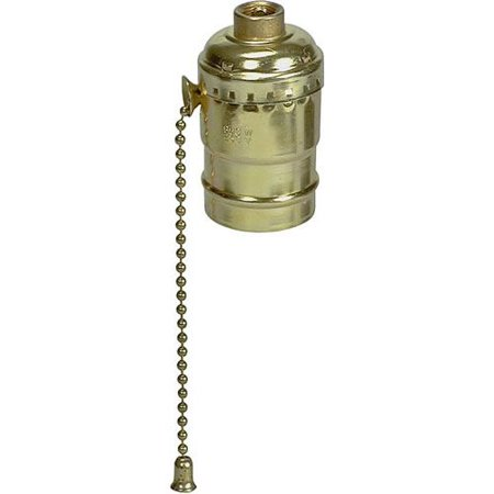 Ace 31186 Brass Finish Pull Chain Light Socket Lampholder 600W 250V (Ace Pull Chain)