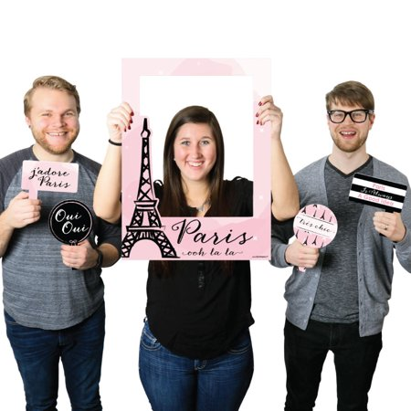 Paris, Ooh La La - Paris Themed Party Selfie Photo Booth Picture Frame & Props - Printed on Sturdy - Paris Prom Theme