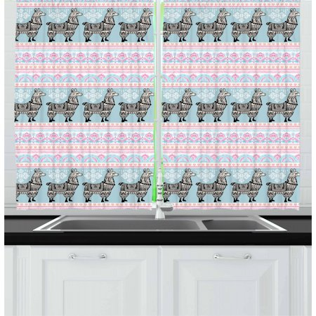 Llama Curtains 2 Panels Set, Horizontal Borders with Patterned Alpaca Animal and Ethnic Folkloric Tribal Ornaments, Window Drapes for Living Room Bedroom, 55W X 39L Inches, Multicolor, by Ambesonne (Horizontal Window Curtain)