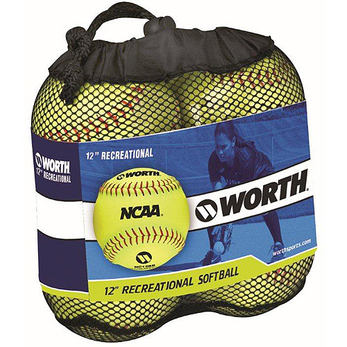 "Worth 12"" Slowpitch 4-Pack of Softballs YWCS12-SW4"