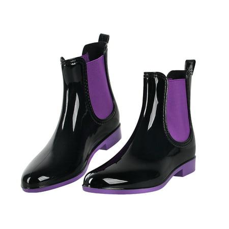 OUTDOOWALS Womens Short Waterproof Rain Boots Solid Ankle Rain Shoes Girls Rain Booties Purple Size 9 (Size 9 Snowboard Boots)