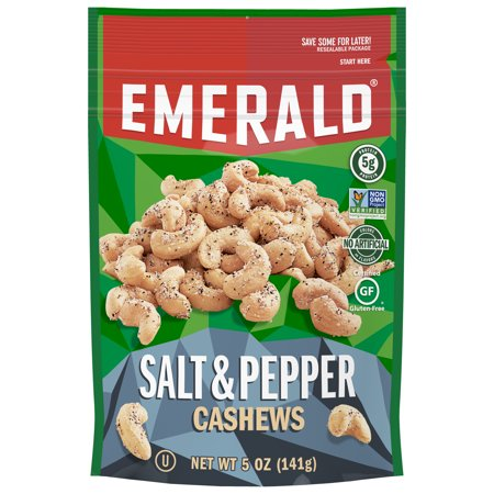 Emerald Nuts Salt and Pepper Cashews, 5 Oz Resealable Bag 5 Ounce Resealable Pouch