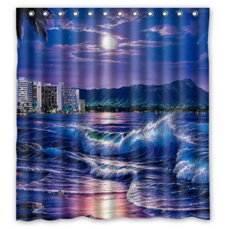 GreenDecor Night City Sea Beach Wave Under The Moon Art Waterproof Shower Curtain Set with Hooks Bathroom Accessories Size 66x72 inches (City Under The Moon)