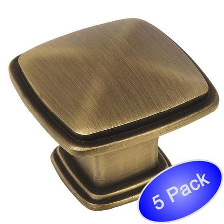 Cosmas 4391BAB Brushed Antique Brass Modern Cabinet Hardware Knob - 1-1/4