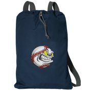 Cotton Canvas Baseball Backpack Natural Fiber Baseball Cinch Bag Lined and with Wide Straps