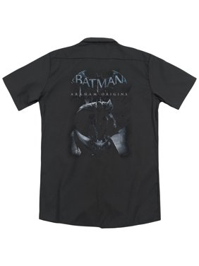 Batman Arkham Origins Perched Cat (Back Print) Mens Work Shirt