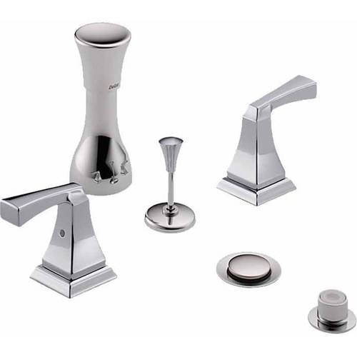 Delta Classic Bidet Fitting Kit Deck-Mounted Vertical Spray with Dryden Metal Lever Handles, Available in Various Colors