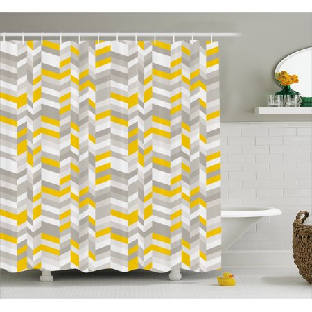 Grey And Yellow Shower Curtain Geometric Vintage 60s Home Decor Inspired Zig Zags Fabric