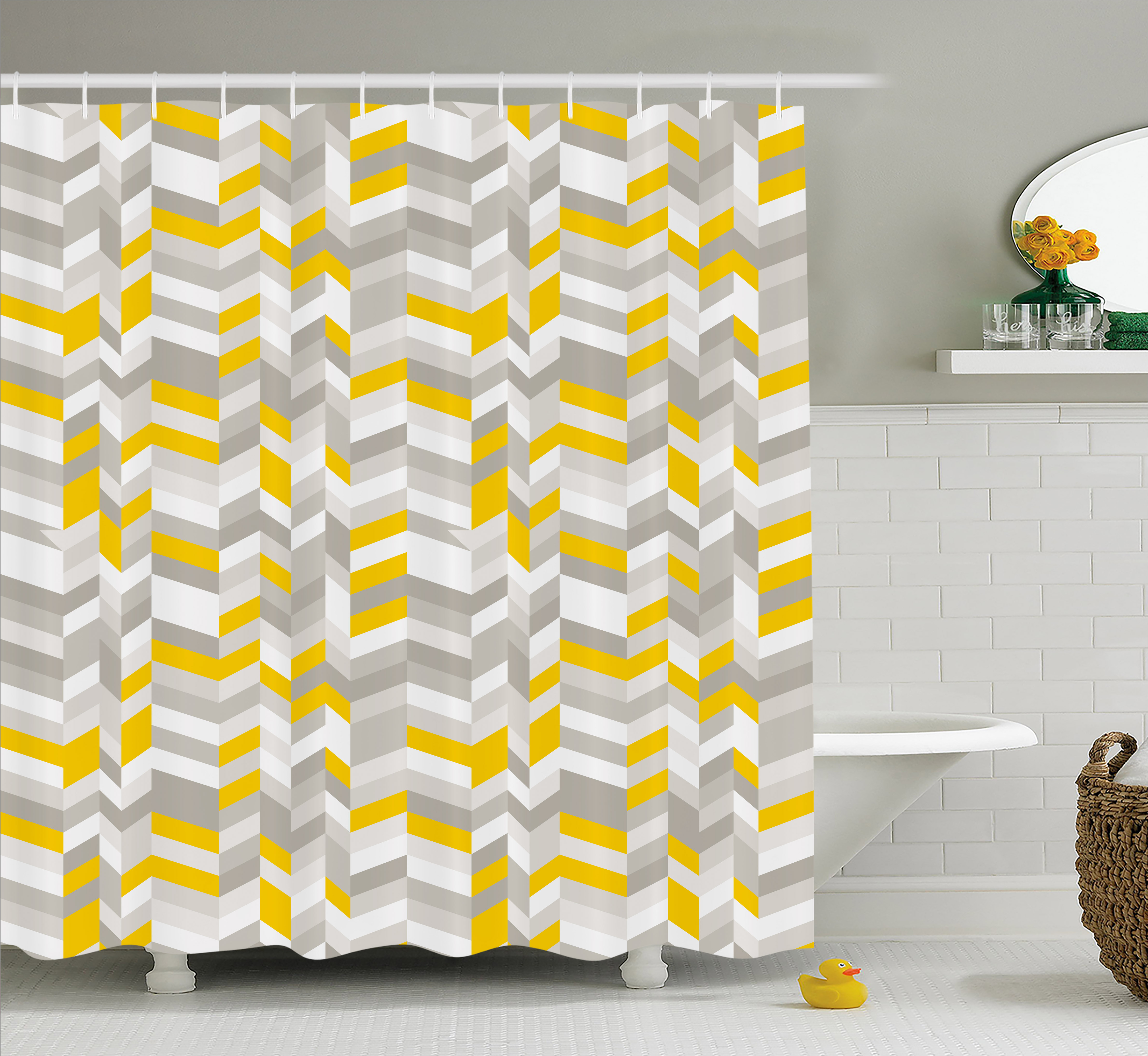 Grey And Yellow Shower Curtain, Geometric Vintage 60s Home Decor Inspired  Zig Zags, Fabric