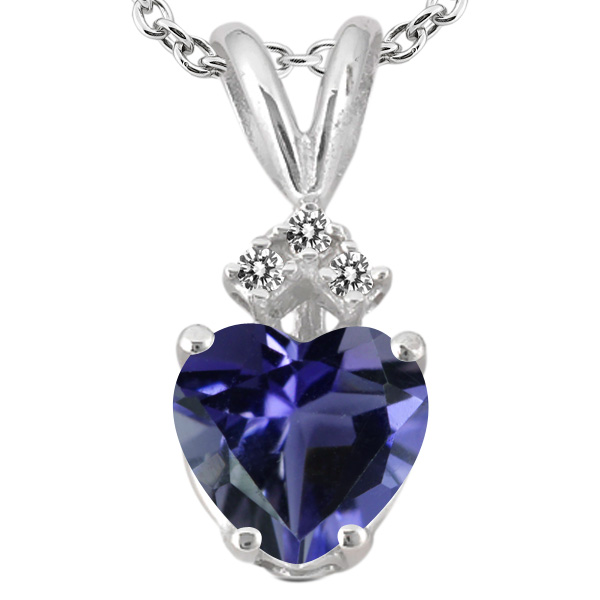 0.62 Ct Heart Shape Blue Iolite White Diamond 14K White Gold Pendant