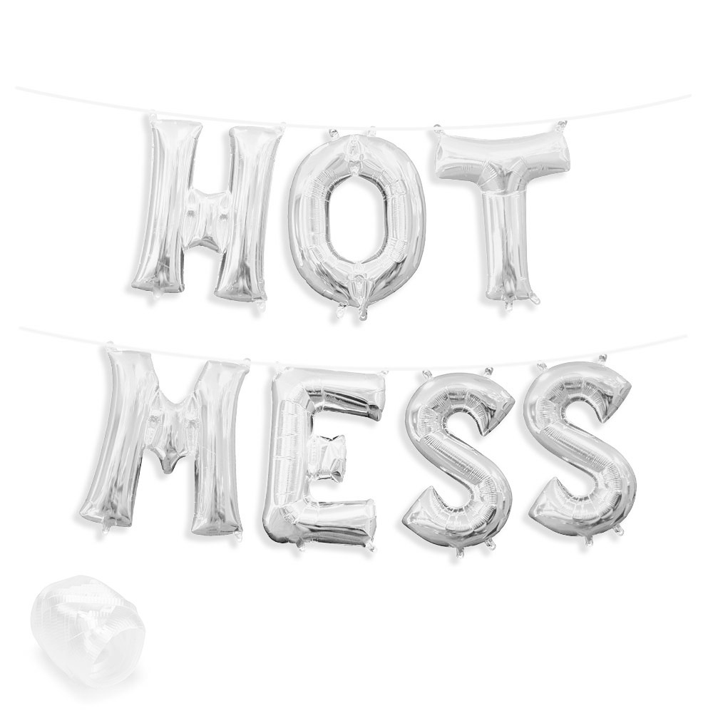 "Air-Fillable 13"" Silver Letter Balloon Kit ""HOT MESS"" Party Supplies"