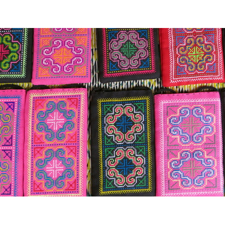 LAMINATED POSTER Embroidery Pink Laos Market Colors Silk Industry Poster Print 24 x 36