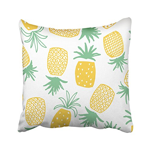 WinHome Yellow Pineapples Pattern Green Leaves White Decorative Pillowcases With Hidden Zipper Decor Cushion Covers Two Sides 18x18 inches