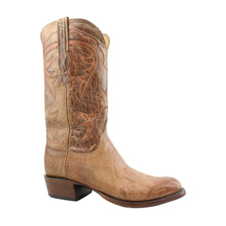 Lucchese Mens Hl1504.63 Tan Burnished Cowboy, Western Boots Size 8.5 (2E)