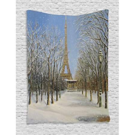 Country Decor Wall Hanging Tapestry, Winter Scene Of Historical Eiffel Tower In Paris Snowy Day City European Urban View, Bedroom Living Room Dorm Accessories, By Ambesonne Scene Wall Tapestry
