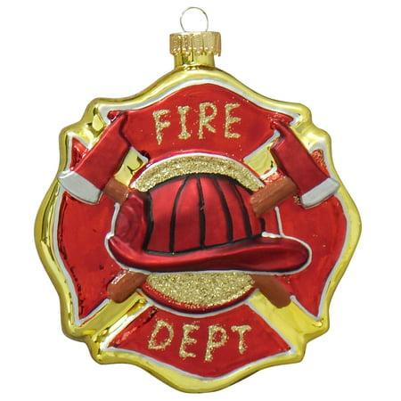 Christmas By Krebs Firefighter Badge Maltese Cross Holiday Ornament Glass (Firefighter Ornaments)