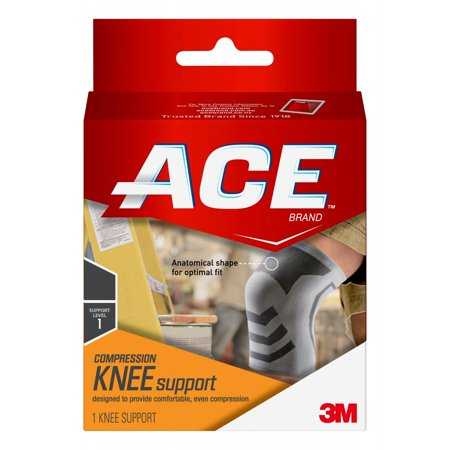 ACE Brand Compression Knee Support, Large/Extra Large, White/Gray, (Best Hypermobility Knee Brace)