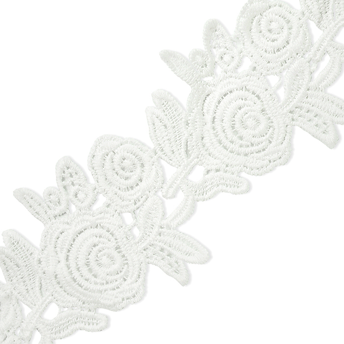 """Expo Int'l 5 yards of Cassie 2 1/2"""" Chain of Roses Lace Trim"""