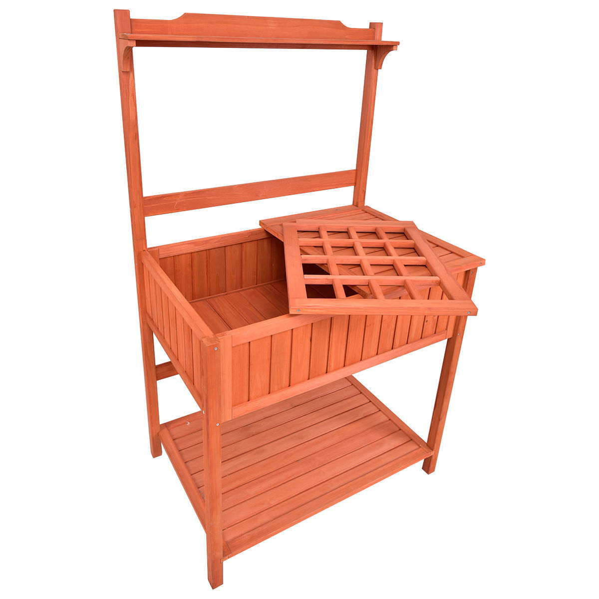 "GHP 36""x24""x60"" Fir Wood Garden Potting Planting Bench with Lower Shelf & Drawer"