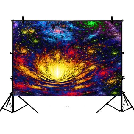 PHFZK 7x5ft Spiral Galaxy Pattern on its Petals Glow in Dark Photography Backdrops Polyester Photo Background Studio Props