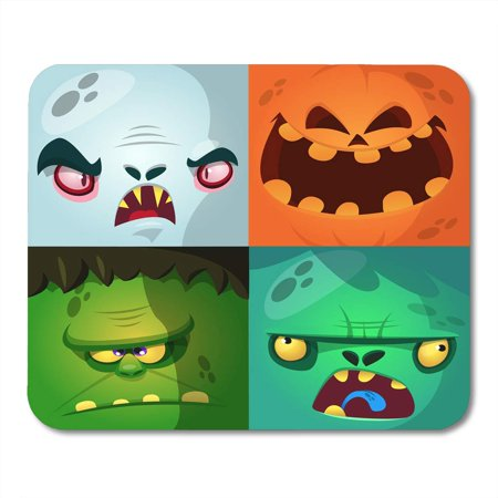 KDAGR Blue Halloween Cartoon Monster Faces Cute Avatars and Pumpkin Vampire Dracula Zombie Green Character Mousepad Mouse Pad Mouse Mat 9x10 inch](Cartoon Halloween Monsters)