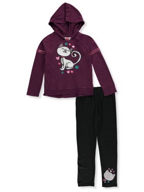 RMLA Girls' Jersey Kitty Glitter 2-Piece Leggings Set Outfit
