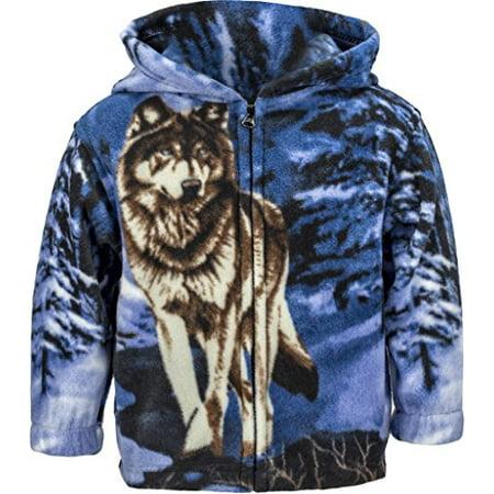 ce1480d8ba11 TrailCrest - Toddlers Animal Print Fleece Hooded Zip Up Jacket W/ Magnet,  2T, Wolf - Walmart.com