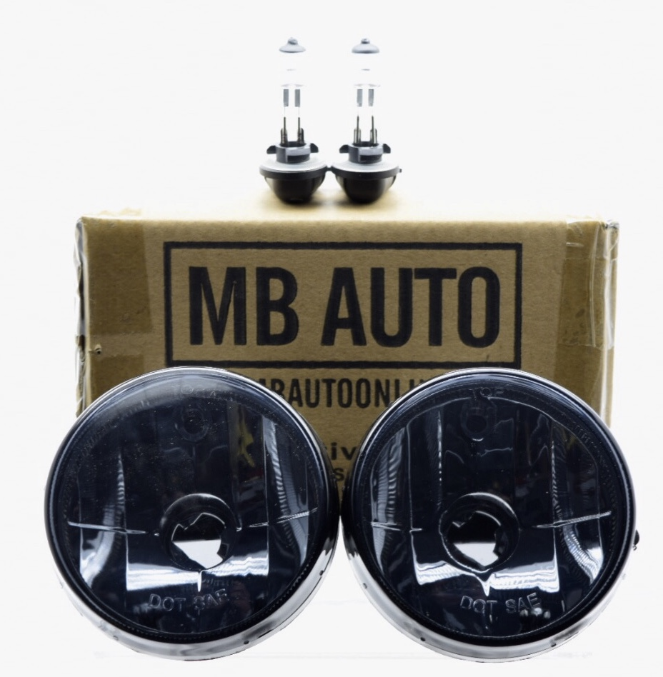 MB Auto 1999 2000 2001 Dodge Ram 1500 (SPORT BUMPER) Smoked tinted Fog Lights with bulbs driving lights 2pc Pair replacement for 55076942AB 55076942AB CH2592119 CH2592119