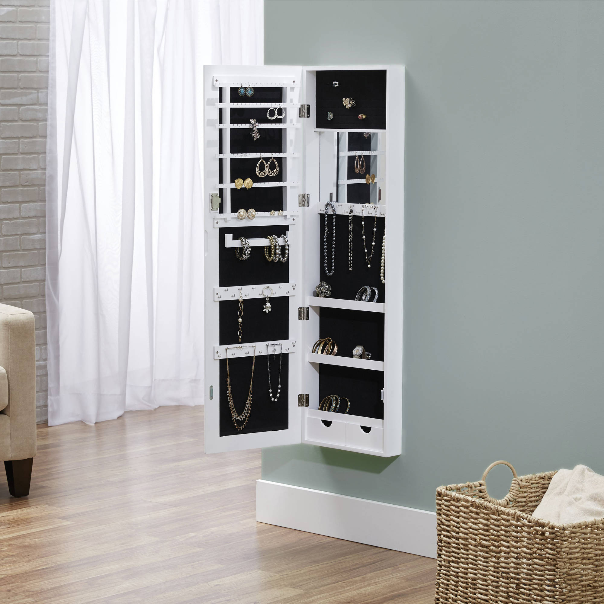 Wall Mirror Jewelry Armoire innerspace wall hang deluxe mirror jewelry armoire - walmart