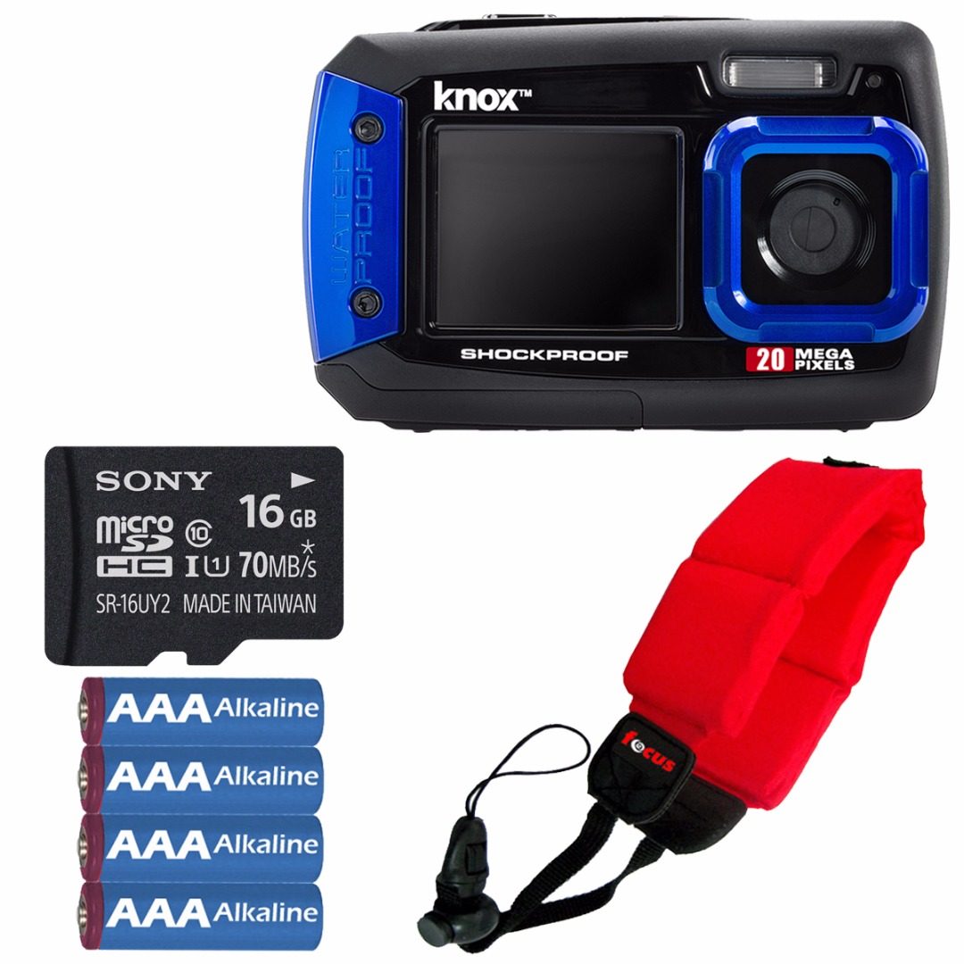 Knox 20MP Waterproof & Shockproof Digital Camera (Blue) w/ 16GB microSD Card Bundle