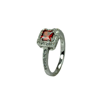 Sterling Silver Rhodium Plated Clear Micro Pave Set Red Square Center Cz Bridal Ring  Moon Collection